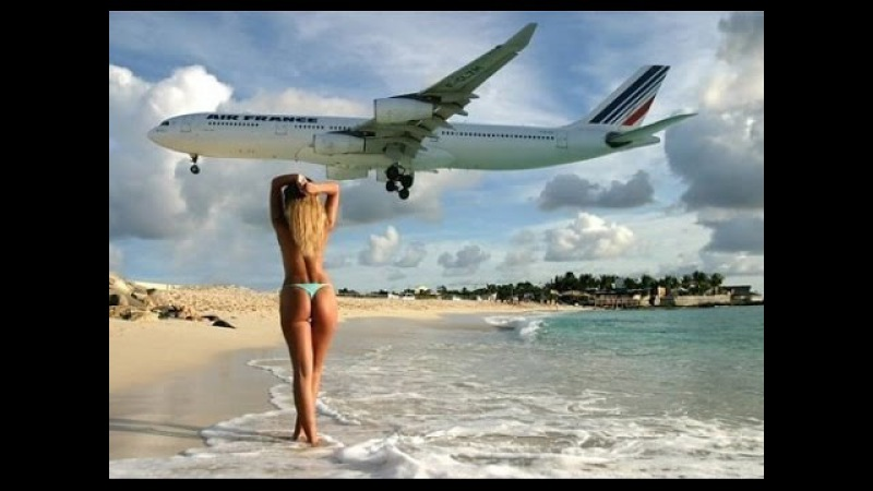 **EXTREME, IMPRESSIVE and HOT** LANDING PLANE FEW METRES high phuket airport sexy bikini travel trip