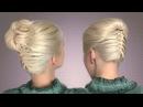 Французская коса снизу вверх. Собранная причёска на каждый день. Пучок с плетением своими руками