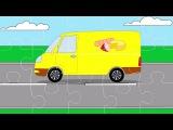 Мультфильм для детей - Пазл с машинками (Внедорожник, родстер, фургон)