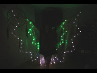 Светодиодные крылья Две звезды бело-зеленые 8(925)303-51-36
