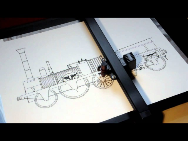 Roland DXY-1150 pen plotter drawing the Adler steam locomotive