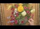 Пишем букет маслом розы, лилии, хризантемы, гортензия.
