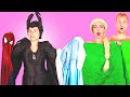 Spiderman Frozen Elsa vs Maleficent! w/ Spidergirl, Anna, Ariel Mermaid, Rapunzel, Surprise Egg