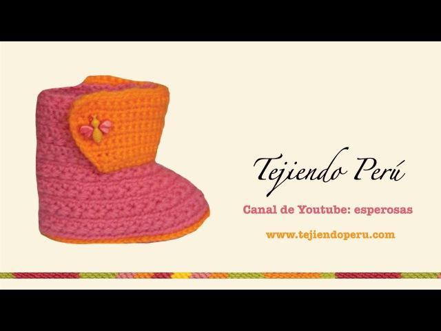 Botitas en crochet para bebe de 0 a 3 meses Parte 2 bordes Tejiendo Perú