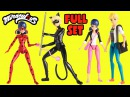 Miraculous Ladybug Action Figure Dolls FULL SET Ladybug Cat Noir Marinette Adrien Toy Caboodle