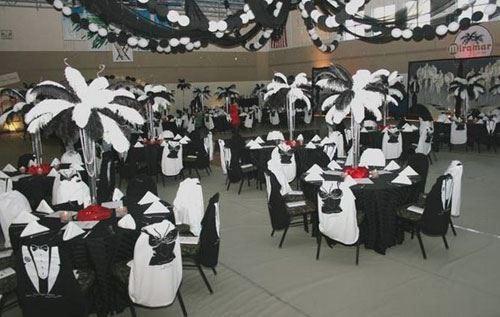 Черно-белое оформление свадебного зала