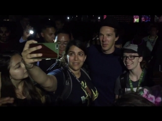 Benedict cumberbatch just visited fans waiting in line for hall h.