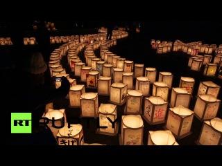 В Японии зажгли cотни фонариков в память о жертвах цунами 2011 года