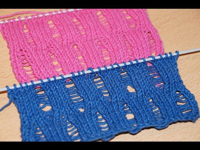 Вязание спицами Узор со спущенными петлями Knitting for beginners