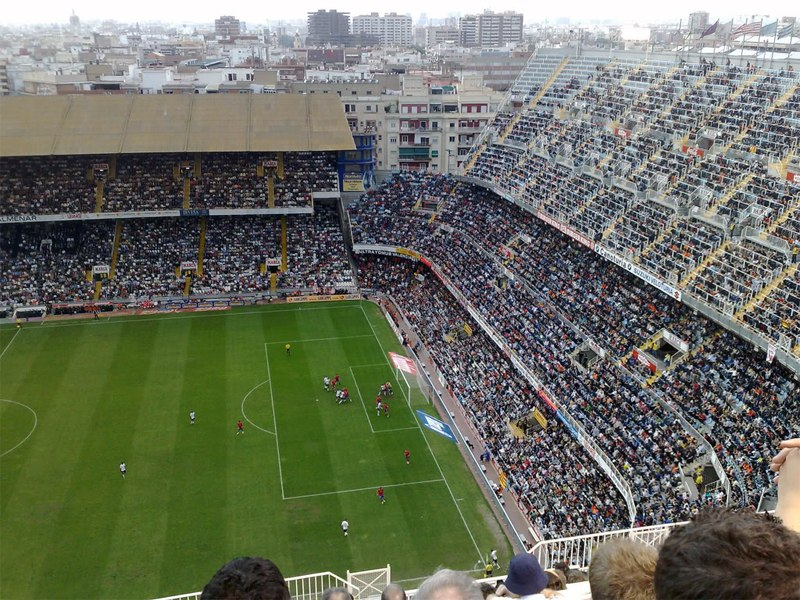 Стадион Месталья (Estadio de Mestalla). Валенсия, Испания.