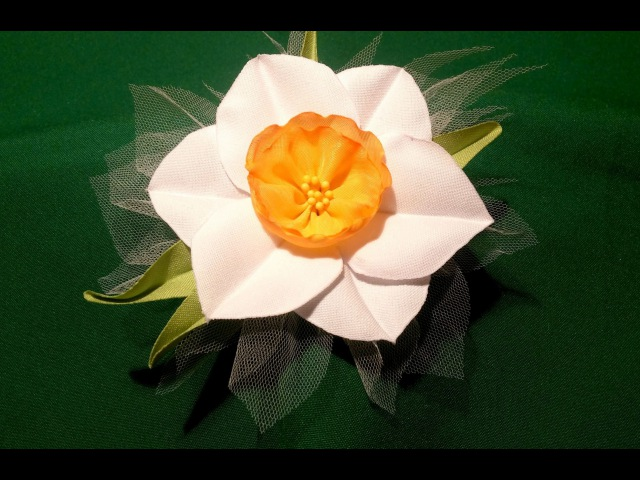 Fabric flowers how to make narcissus very easy tutorial Цветы из ткани нарцис очень легко