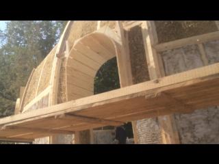 Строительство блочного купольного дома из сена