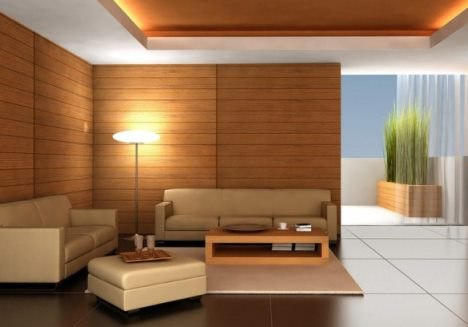 деревянные обои в зале