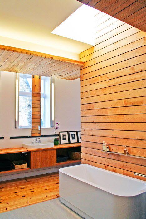 деревянные обои в ванной