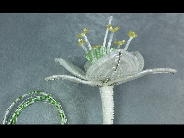 Амазонская лилия из бисера. Урок 5 - Сборка цветка / Beaded amazon lily. Lesson 5 - Flower assemly