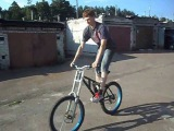 cro-moly homemade freeride bike with homemade stainless steel(!) marzocchi monster 230mm replica