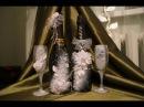 Декупаж на стекле Свадебная бутылка Шампанского