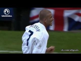 Дэвид Бекхэм / 5 лучших голов за сборную Англии [HD 720p]