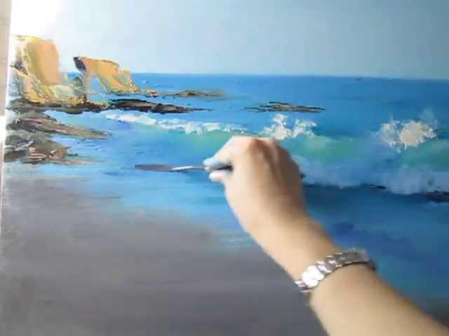 Как нарисовать море Мастер класс Прозрачная волна