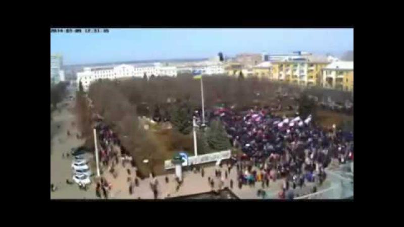 Разгон майдаунов в Луганске