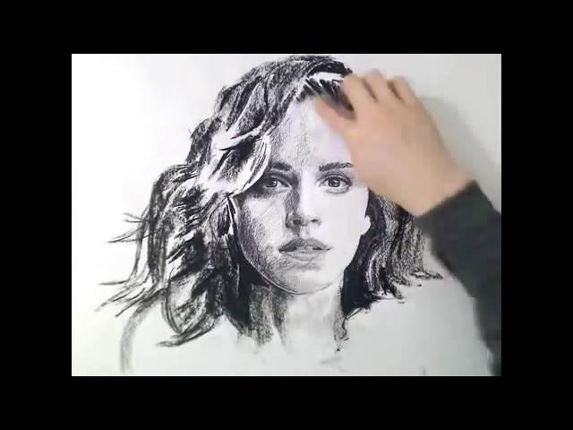 Как рисовать углем. Портрет Гермионы