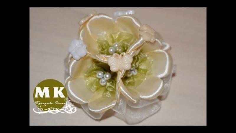 Мастер-класс Канзаши. Цветы из лент. Заколка для волос. Цветы яблони/Barrette Flowers of Apple