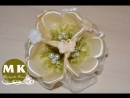 Мастер-класс Канзаши. Цветы из лент. Заколка для волос. Цветы яблони /Barrette Flowers of Apple