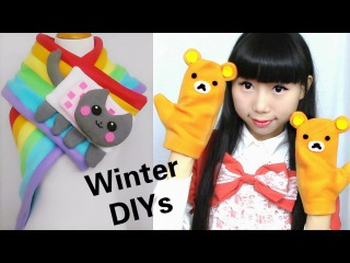 Cute Winter DIYs: DIY Rainbow Nyan Cat Scarf + Rilakkuma Gloves