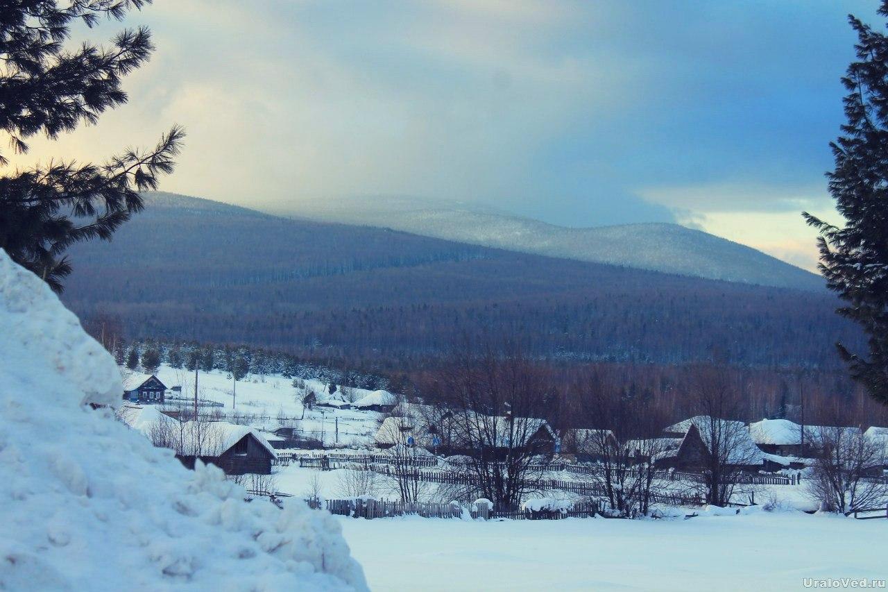 Гора Качканар из поселка Верхний Ис
