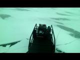 на коньках за мотобуксировщиком  барбос