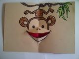 Как сделать из бумаги объемную 3D открытку на Новый год с обезьянкой. Симвоом 2016 года