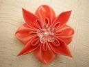 Объемный цветок в стиле Канзаши Видео мастер класс DIY Flowers