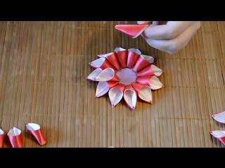 Мастер-класс Канзаши. Резинка для волос - георгин