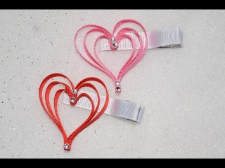 3 LAYER HEART Ribbon Sculpture Valentine's Day Holiday Hair Clip Bow DIY Free Tutorial by Lacey