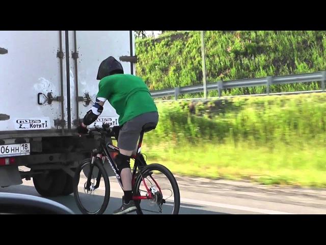 На велосипеде со скоростью 100 км/ч. MTB bicycle racing 100km/h