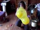 Alenna bunny yellow balloon blow to pop