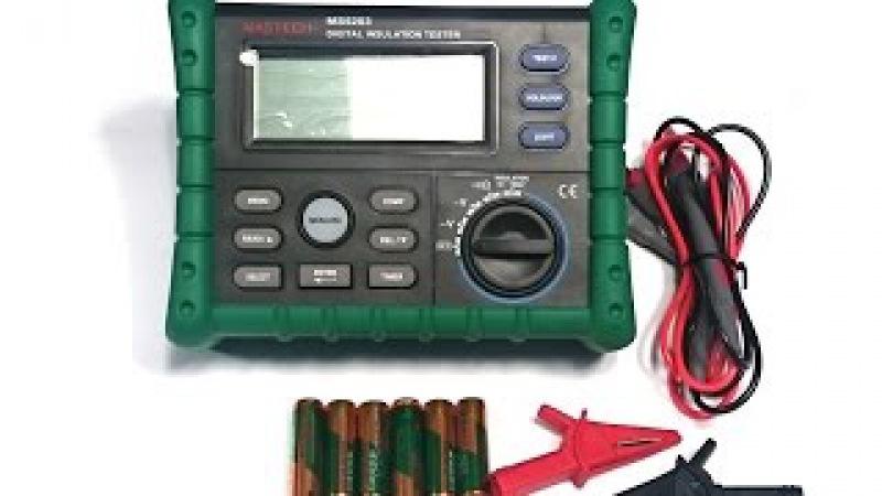 Мегаомметр MS5203 MASTECH. Как измерить сопротивление изоляции кабеля. Видео от Electronoff.