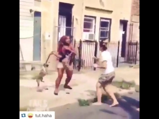 бабская драка (удар собакой)