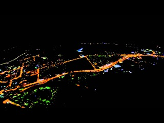 Ночной Мурманск (высота 1100 м, ветер 7 м/с)