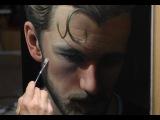 Американский художник Vic Harris пишет портрет.