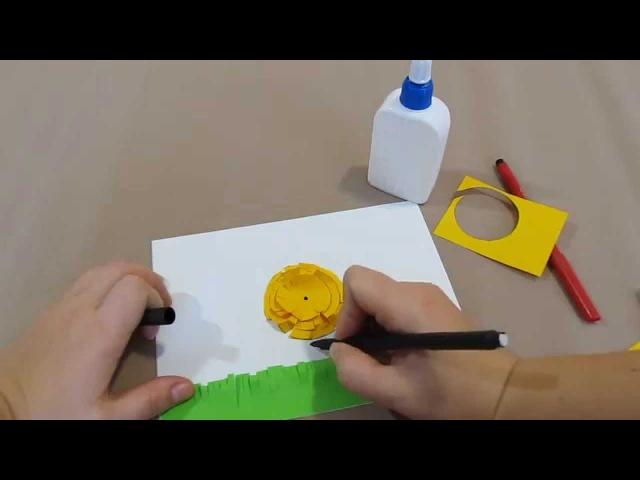 Простая объемная аппликация для малышей Цыпленок.