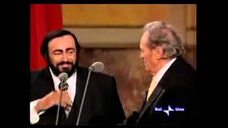 Luciano Pavarotti and father - 2001