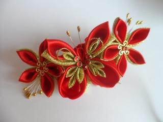 Мастер класс Как сделать заколку с Бабочкой Канзаши  Цветы из лент ч 2