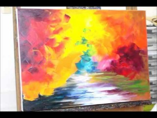Sample video lesson from Leonid Afremov for his palette knife style with commentaries in Russian