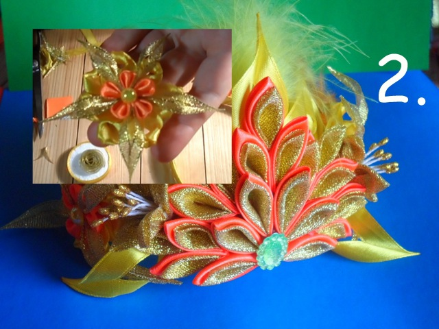 Корона Королева Осени ( Диадема ) ч.2 Цветок с узелками Мастер класс: Канзаши