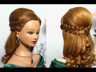 Праздничная прическа с двумя ажурными косами для длинных волос.