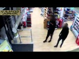 Man rides into Co op on a hoverboard and steals Lucozade
