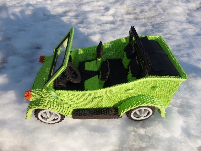 How did Karen Create the Origami Green Car