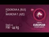 BRONZE FW - 44 kg: T. NASIROVA (AZE) df. A. FEDOROVA (RUS), 7-2