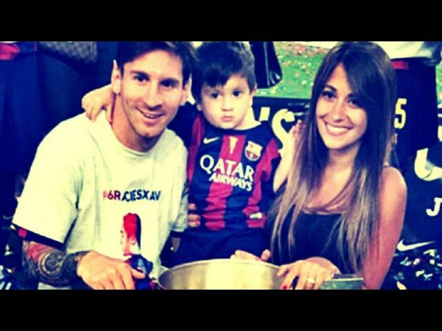 Месси и его сын и жена Антонелли 2015 празднуют чемпионства